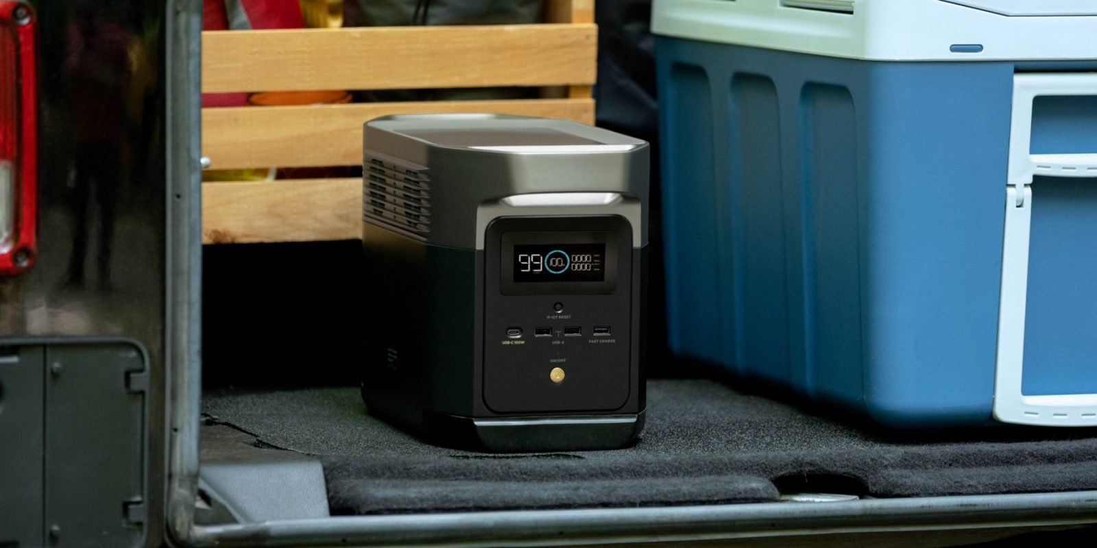 EcoFlow Delta Mini In Boot With Cool Box