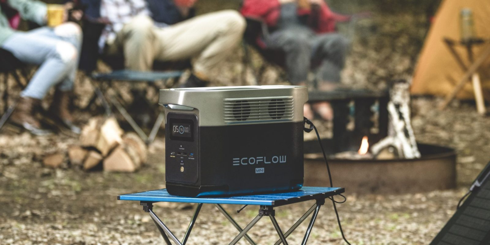 EcoFlow Delta Mini On Stool Camping